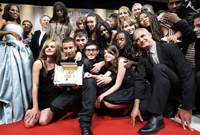 "Director Laurent Cantet and the actors who starred in award-winning film ""The Class.""(Photo : AFP)"