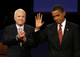 Republican presidential nominee Senator John McCain (R-AZ) (L) and Democratic presidential nominee Senator Barack Obama (D-IL) stand together onstage after the first U.S. presidential debate in Oxford, Mississippi, September 26, 2008. REUTERS/Jim Bourg (UNITED STATES) US PRESIDENTIAL ELECTION CAMPAIGN 2008 (USA)(Photo: Reuters)
