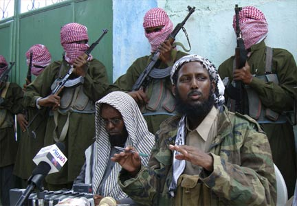 Islamist commander Sheikh Muktar Robow Abu Mansoor addresses a news conference in Mogadishu, October 27, 2008.(Photo: Reuters)