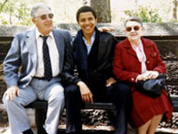 Obama (c) with grandparents Stanley and Madelyn Dunham in an undated photo(File photo: Reuters)