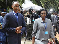 Paul Kagame with Rose Kabuye in November