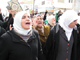 Women chant in support of Hamas.(Photo: RFI/Tony Cross)