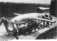 A German crew rolls out a V1(Photo: Wikimedia)