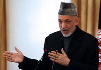 Karzai at today's press conference(Photo: Reuters)