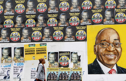 Campaign posters in Durban's Umlazi township in Kwa-Zulu Natal province.(Photo: Reuters)