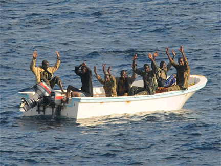 Suspected pirates arrested by the US navy in the Gulf of Aden on 11 February 2009(Photo: Reuters)