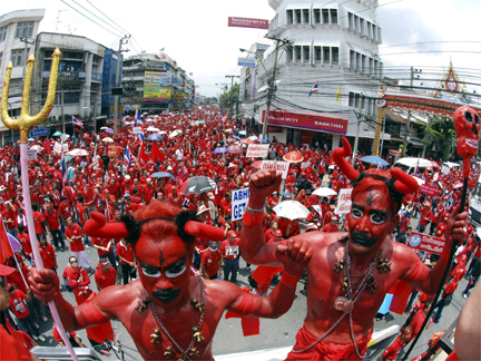 Thaksin Supporters Outside The House Of General Prem Tinsulanonda In Bangkok On 8 April 2009
