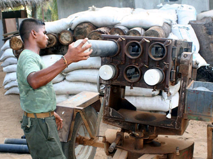 A photograph of what the Sri Lankan military says is a Tamil Tiger rocket launcher captured in the No Fire Zone, released 14 May 2009(Photo: Reuters/Sri Lankan Government)