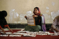 Ballots sorted at a polling centre in Kabul, 21 August, 2009.(Photo: Reuters/Ahmad Masood)