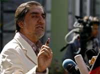 Abdullah Abdullah at a news conference in Kabul, 23 August 2009(Photo: Reuters)