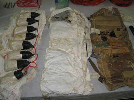 Explosive belts seized by Mauritanian police in June 2008.(Photo: M. Rivière/RFI)