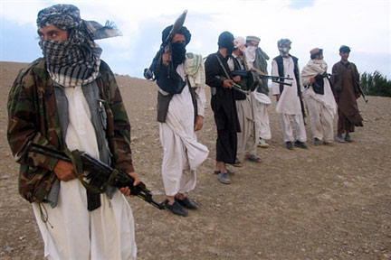 Taliban fighters at Maydan Shahr in Wardak province, west of Kabul, in 2008 (Photo: AFP)