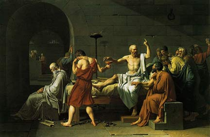 Socrates drinks hemlock after being condemned for corrupting the youth - poison is not on the menu at the philosophy cafés(Painting: Jacques-Louis David/Princeton University Art Museum)