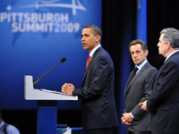 Barack Obama, Nicolas Sarkozy et Gordon Brown at the G20 in Pittsburgh(Photo: AFP)