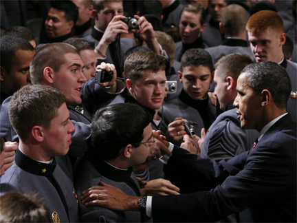 Barack Obama greets cadets at the U.S. Military Academy in West Point(Photo: Reuters)