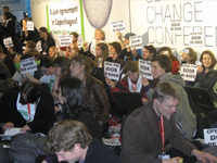 Demonstrators at the conference on Wednesday(Photo: Rosslyn Hyams)