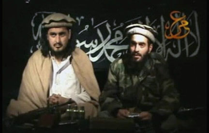 Taliban leader Hakimullah Mehsud (L) sits beside a man who is believed to be Humam Khalil Abu-Mulal Al-Balawi, the suicide bomber who killed CIA agents in Afghanistan, in a video released 9 January 2010.Photo: Reuters