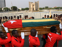 Pallbearers carry the coffin with the remains of Togolese Assistant Soccer Coach Abalo during the funeral service in the Togolese capital Lome, earlier this month(Photo: Reuters)