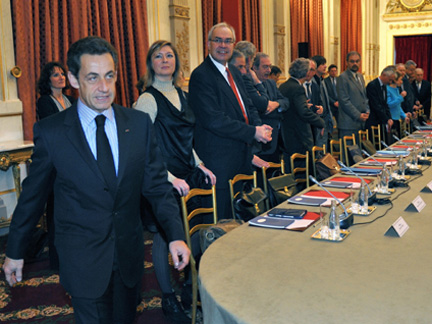 French President Nicolas Sarkozy at a meeting with members of the government and unions to work out a pension reform timeline.Photo: Reuters