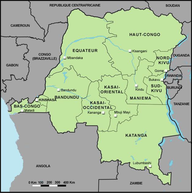 RFI   République démocratique du Congo   Carte des provinces de la RDC