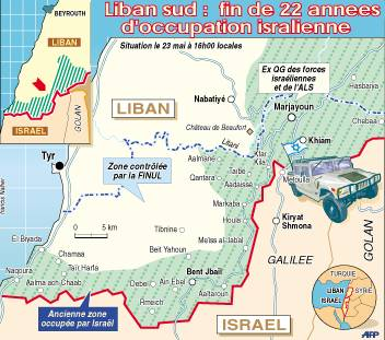 Carte AFP illustrant le retrait par Israël du Sud-Liban décidé par Ehud Barak en 2000. Un retrait dont les lecteurs du Libé des géographes n'auront pas connaissance.