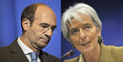 Eric Woerth, ministre du Budget (g) et Christine Lagarde, ministre des Finances.(Photos : AFP)