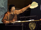 Le leader libyen Muammar Kadhafi lors du sommet des Nations unies, le 23 septembre 2009.<em>(Photo : Ray Stubblebine / Reuters)</em>