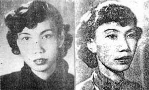 Ảnh chụp nhà văn Thụy An năm 1942 (T) và năm 1954 (P).(Ảnh : DR)