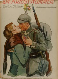 Le baiser </p> <p>Allemagne, Première Guerre mondiale</p> <p>Lustige Blätter n°31, 32x24 cm, © Musée d'histoire contemporaine–BDIC