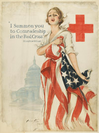 I summon you to comradship in the red cross, Harrison Fisher (1875-1934), Affiche 1918, American Lithographic Co, N-Y© Musée de l'Armée -Paris/E.Cambier. Dist RMN
